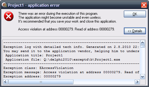 Exception dialog