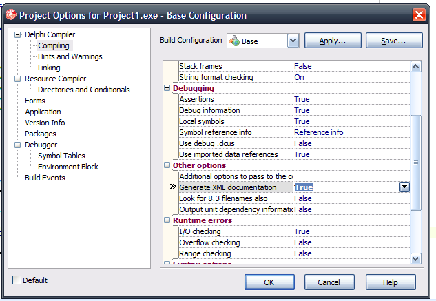 Delphi XML options